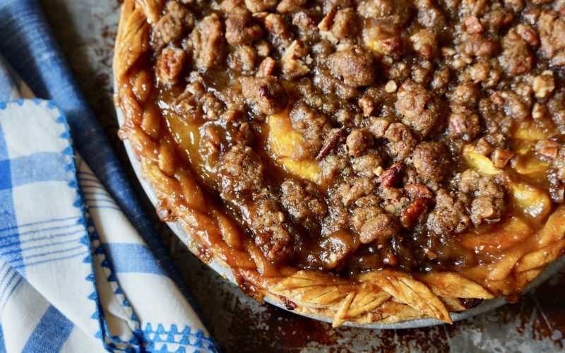 Bourbon-Pecan Peach Pie By Rebecca Gordon Buttermilk Lipstick Birmingham Alabama TV Cooking Personality Editor-in-Chief Pastry Chef Food Stylist Tailgating Expert Southern Hostess Sports Entertaining Tide & Tigers Today Tailgate Host WBRC Fox 6 Cooking Lessons Original Recipes & Food Crafts Party Ideas Game Day Tailgating Food How To make Pie Crust
