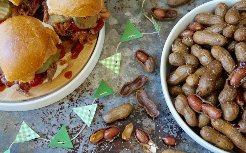 Game Day Entertaining: Smoky Double Swine Sliders & Hog Wash Boiled Peanuts By Rebecca Gordon Buttermilk Lipstick TV Cooking Personality Birmingham Alabama Editor-in-Chief Pastry Chef Tailgating Expert Southern Hostess Sports Entertaining Tide & Tigers Today Game Day Host WBRC Fox 6 BBQ Smoked Pulled Pork Sliders With Championship Cherries Jubilee 'Cue Sauce. Moonshine