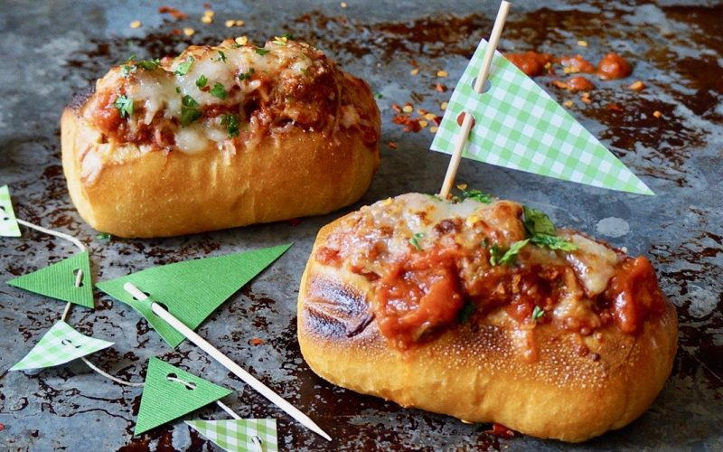 Game Day Entertaining: Meatball Grinders & Ultimate Supreme Pizza Dip By Rebecca Gordon Buttermilk Lipstick TV Cooking Personality