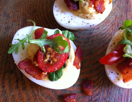 BLT deviled eggs by Rebecca Gordon Buttermilk Lipstick prepared with Kyvan Products from NFL football player Reggie Kelly Tailgating Rebecca Gordon Buttermilk LIpstick Bacon