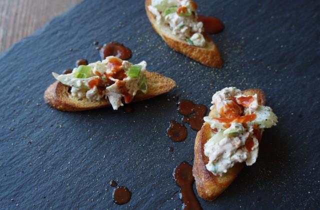 Buffalo Chicken Salad Crostini Easy Tailgating Recipes Rebecca Gordon ...