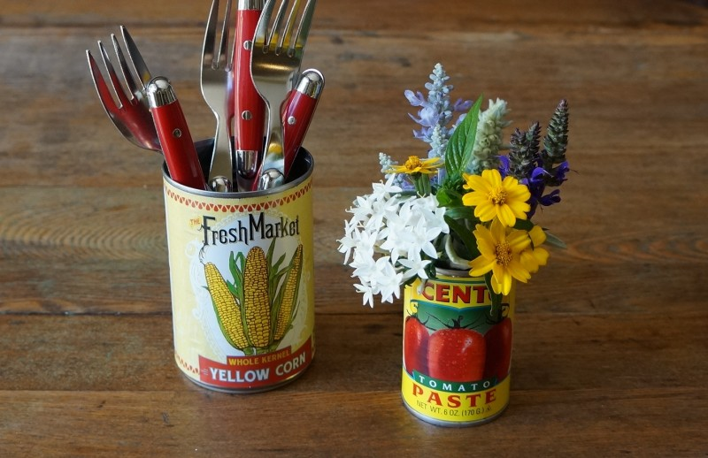 Summer entertaining canned goods flowers from the garden easy party tips barbecue decor rebeccagordon buttermilklipstick