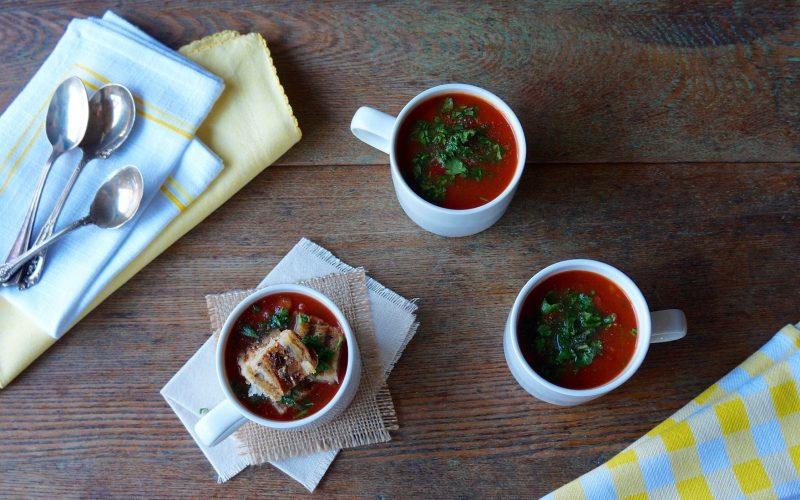 Classic Tomato Soup Grilled Cheese Croutons RebeccaGordon ButtermilkLIpstick Tailgate Expert Game Day Hostess Southern Recipes