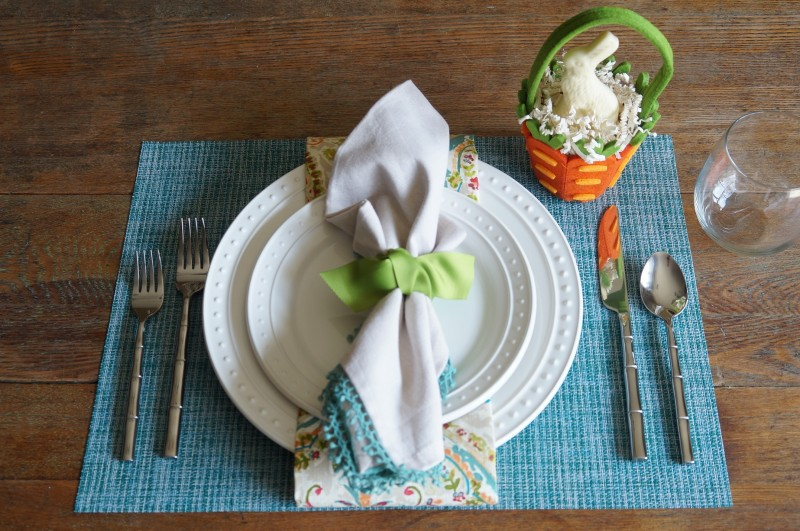 Easy Easter Place Setting Colorful linens RebeccaGordon ButtermilkLipstick SouthernHostess World Market