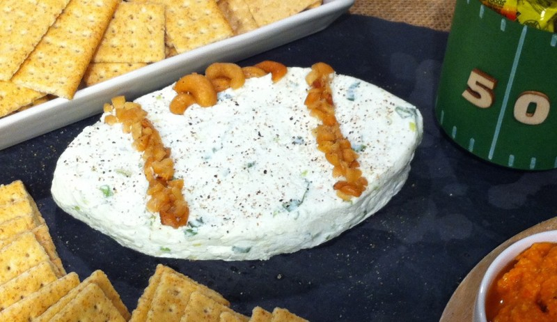 How TO Football shaped cheese dip rebeccagordon buttermilklipstick entertaining gameday hostess tailgate party