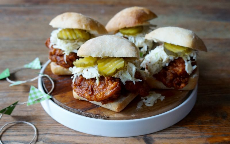 Hot Fried Chicken Sliders By Rebecca Gordon With Creole Cole Slaw Tide & Tigers Today Tailgating Expert Southern Game Day Hostess Outdoor Living Alabama Auburn Football Sports Raycom Media WBRC Birmingham Game Day Food Snacks Tailgate Party Entertaining