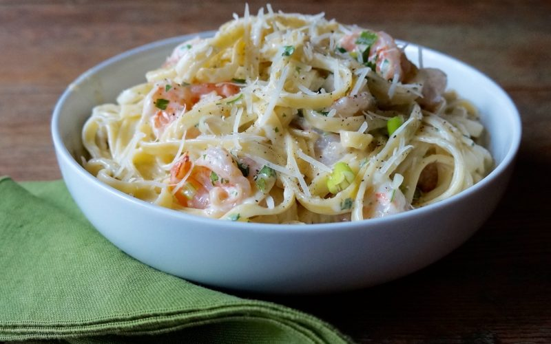 How To Make Shrimp Fettuccine Alfredo By Rebecca Gordon Shrimp Pasta With Cream Reduction Parmesan Cheese Buttermilk Lipstick Southern Hostess Holiday Entertaining Easy Christmas Meals Fast Special Meals Alabama Gulf Shrimp Seafood Eat Local How To Decorate for Christmas Parties