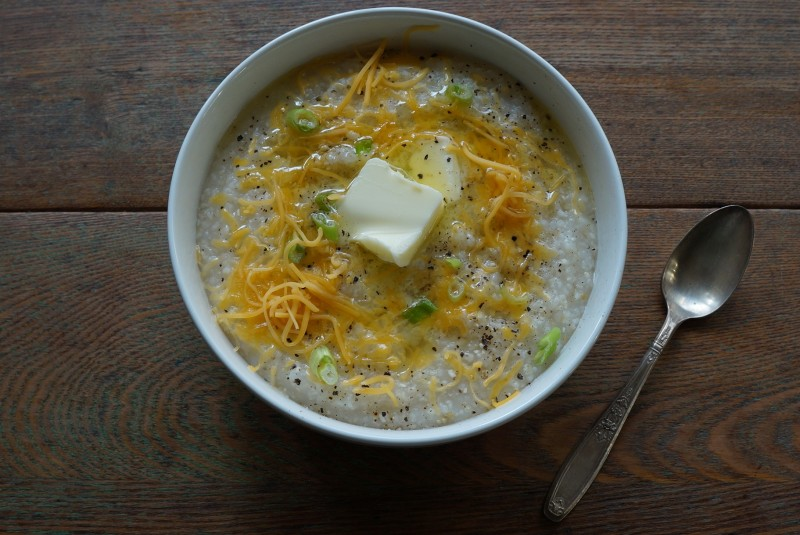 Slow Cooker Creamy Stone Ground Grits RebeccaGordon ButtermilkLipstick Tailgating Christmas Breakfast